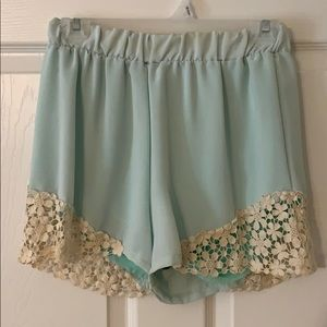Shorts with lace bottom